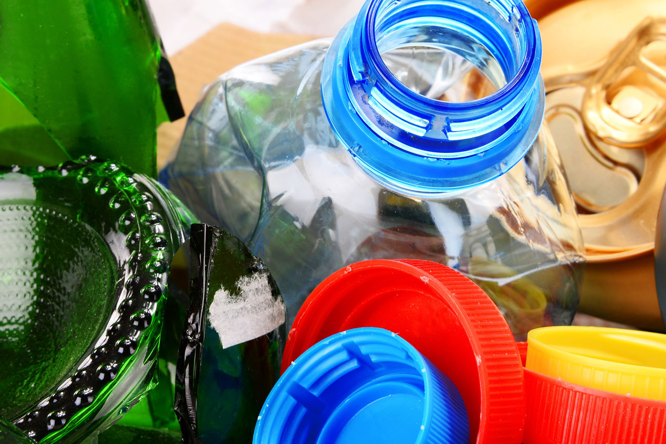 bottles and plastics waste